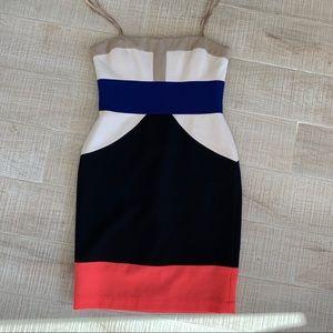 BCBG Maxazria Color Block Cocktail Dress size 6